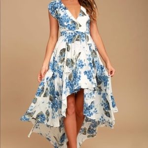 White Floral Print High-Low Dress